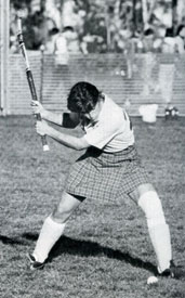 Pfluger during a 1981 field hockey game.