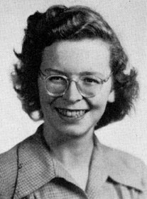 "Ann Korinda's senior portrait from the 1947 ""Seal"" yearbook."