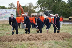 Pictured at the Campus Town groundbreaking ceremony on September 27 are (left to right) Tyler Liberty '14, TCNJ Student Government president; Robert Kaye, chairman and chief operating officer of The PRC Group; Governor Chris Christie; TCNJ President R. Barbara Gitenstein; Ken Koehler, PRC Group president.
