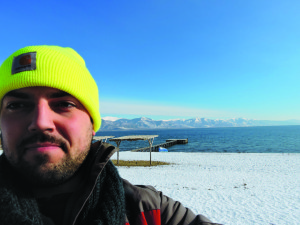 Necovski snapped this picture of himself on the beach at his hotel and resort, which sits  on Lake Prespa within the Galichica National Park.