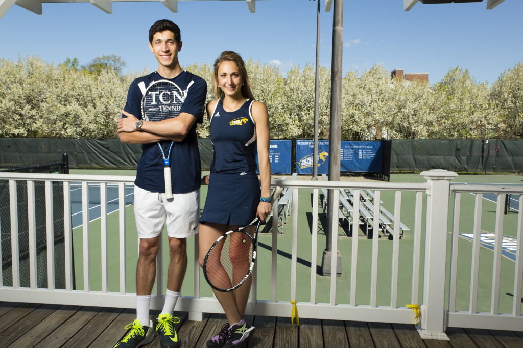 The Buchbinders, both chemistry majors, inherited their dad's love of tennis, but plan to follow in mom's footsteps and become dentists. Photos by Matt Furman.