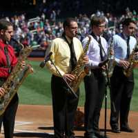 Sax Quartet performs at Citi Field