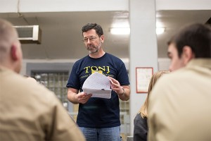 Professor Glenn Steinberg taught Classical Traditions to a combined class of TCNJ students and inmates at Albert C. Wagner Correctional Facility last spring.